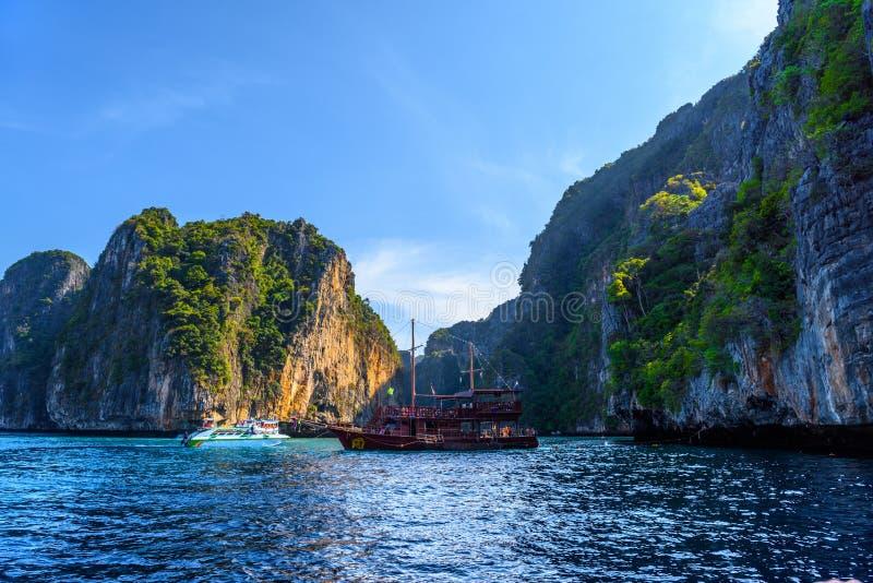 Big sailing pirate ship in sunset, Pileh Lagoon, Phi Phi Leh isl stock photography