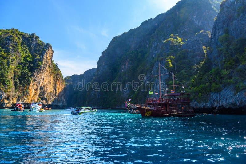 Big sailing pirate ship in sunset, Pileh Lagoon, Phi Phi Leh isl royalty free stock photo
