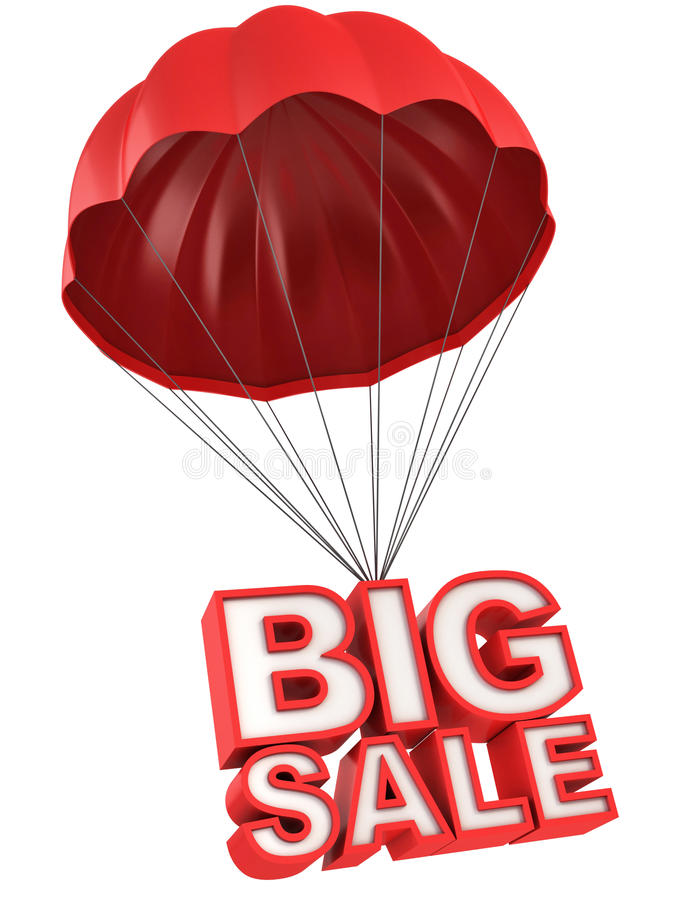 Big sale 3d letters on parachute. Discount 3d concept stock illustration