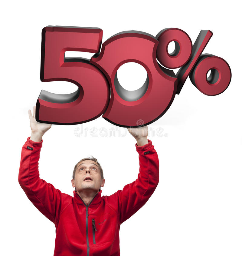 Big sale. 50-Percent. Big sale. Amazed man holding 3d plate. Red 3D 50-Percent stock photo