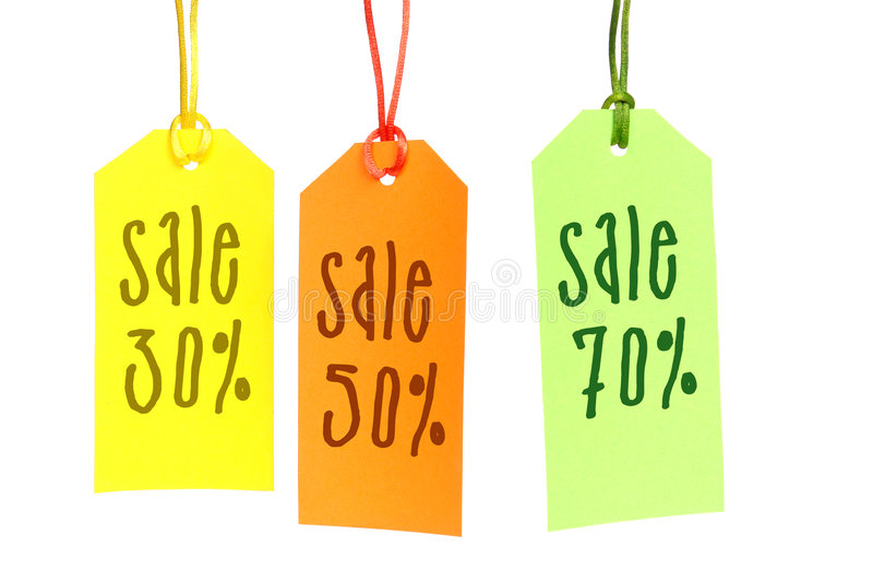 Big sale. Three color tags spelling 30, 50 and 70 sale over white background royalty free stock photography