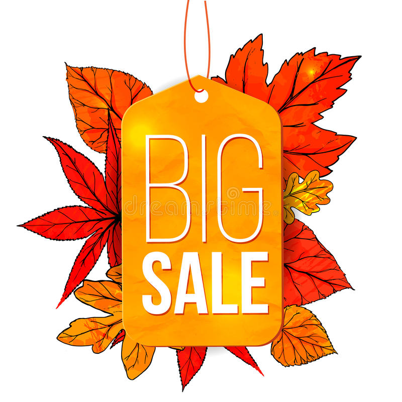 big sale banner with autumn leaves and yellow tag stock vector