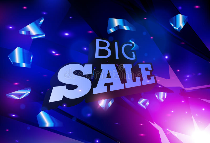 Big sale banner design. Abstract blue vector explosion. vector illustration