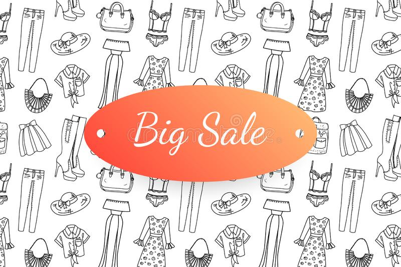 Big sale banner with hand drawn fashion clothes and accessories vector illustration