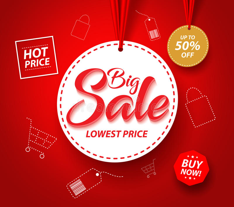 Big Sale Banner with Hanging Circle White Tag Price and Icons royalty free illustration