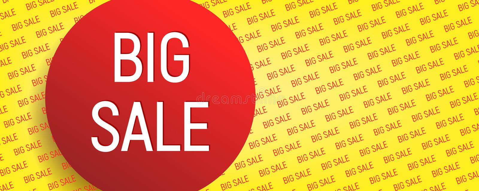 Big sale banner. Poster in yellow and red colors with text vector illustration