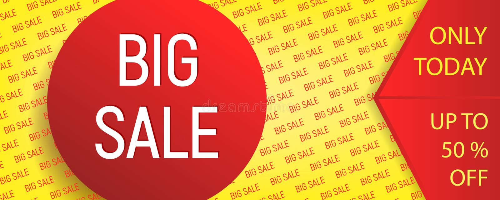 Big sale banner. Poster in yellow and red colors with text for sale promotion vector illustration