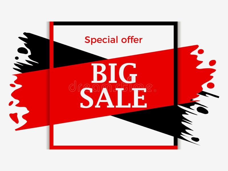 Big sale banner with red and black ink painting. Background with paint strokes, grunge style. Special offer with big discount stock illustration