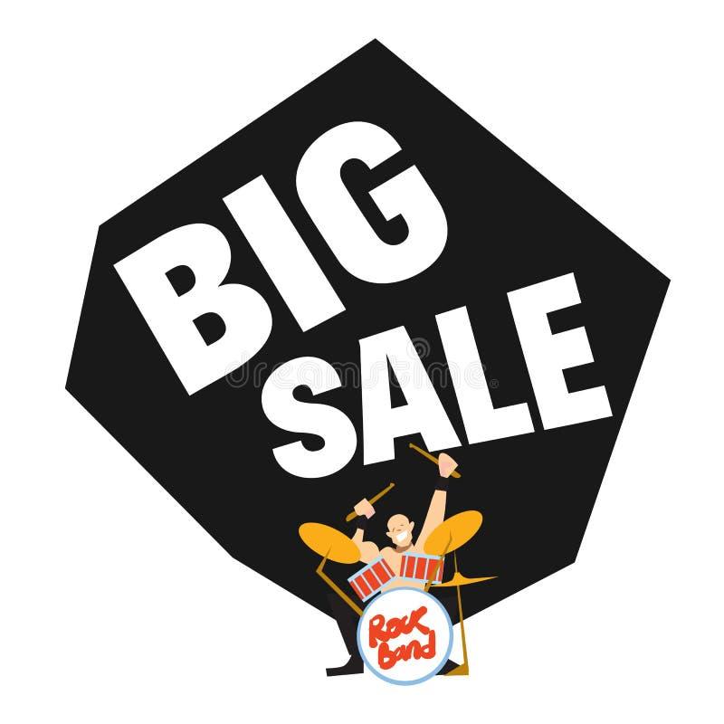 Big sale banner with rock drummer stock illustration