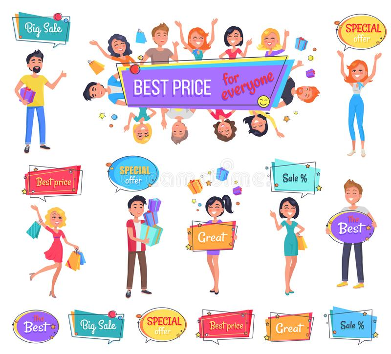 Big Sale with Best Price for Everyone Promo Banner. Happy characters hold full bags, boxes with presents or bright signboards vector illustrations vector illustration