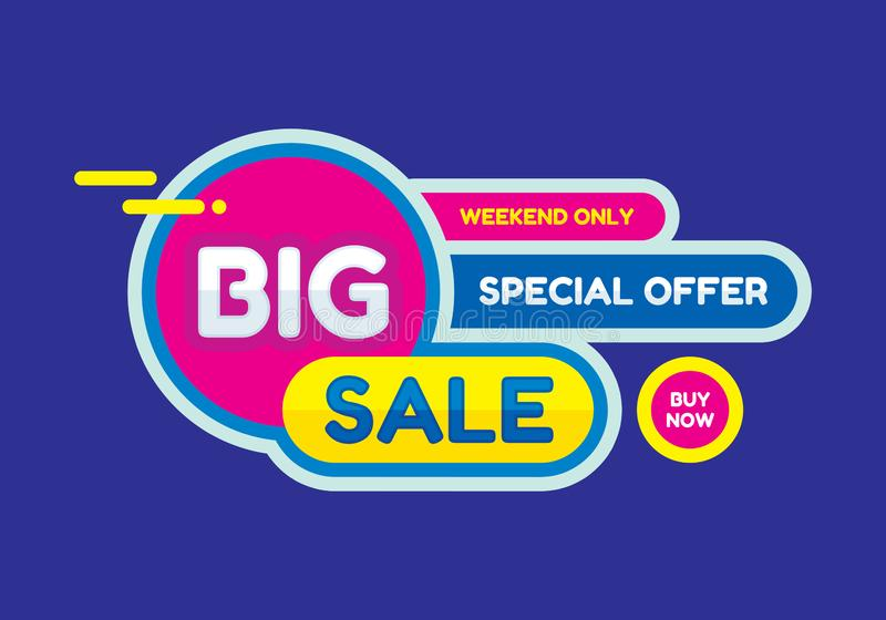 Big sale - concept banner vector illustration. Special offer abstract creative layout. Buy now. Weekend only. Graphic design. stock illustration