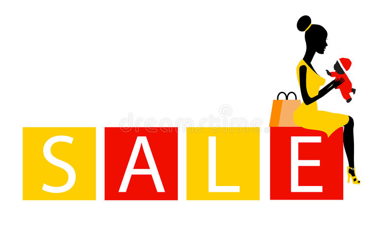 Download Big Sale Concept With A Beautiful Girl In Stock Vector - Image: 21749765