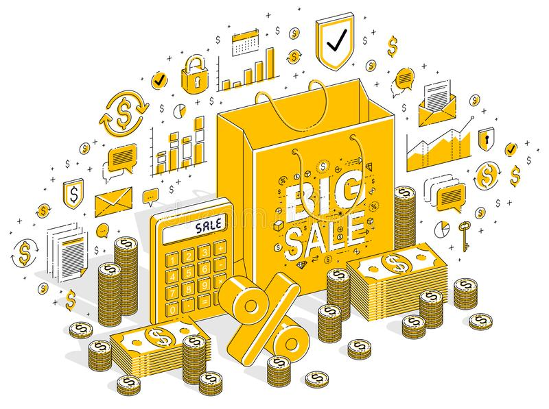 Big Sale concept, Retail, Sellout, Shopping Bag with cash money stacks isolated on white background. Vector 3d isometric business. Illustration with icons stock illustration