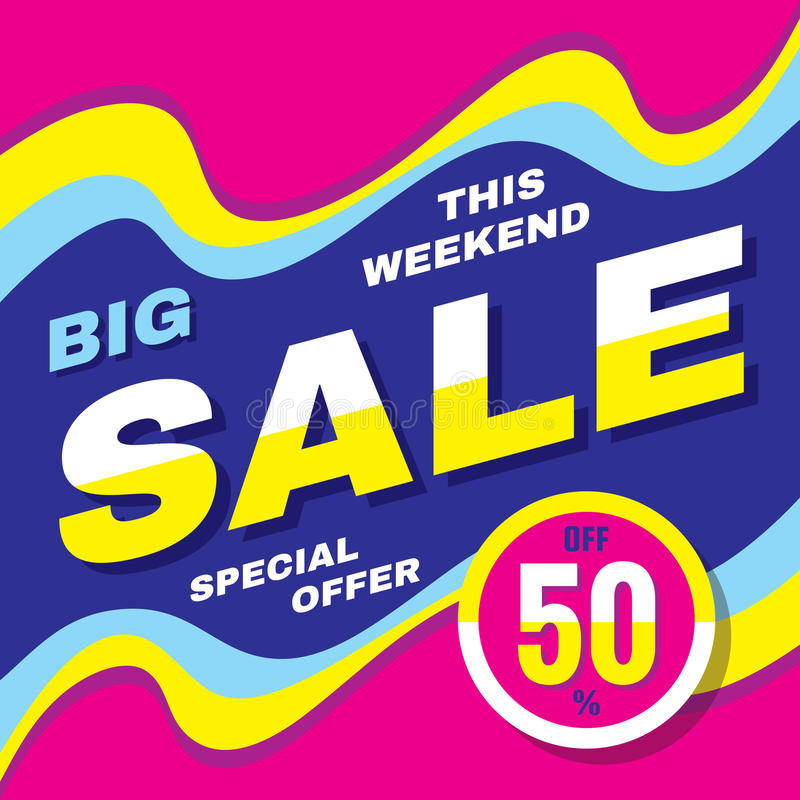 Big sale discount up to 50% - vector banner concept illustration. Advertising promotion creative layout. Graphic design element. royalty free illustration
