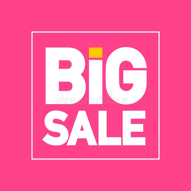 Big Sale Flat Design Vector Label on Pink Background vector illustration