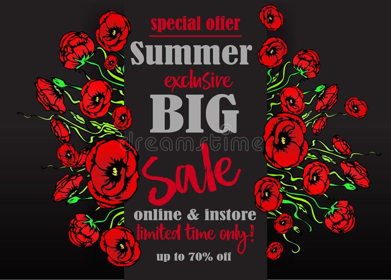 Big sale flayer template for web and print, black background with red floral bouquet . Creative vector design, elegant with poppy stock illustration