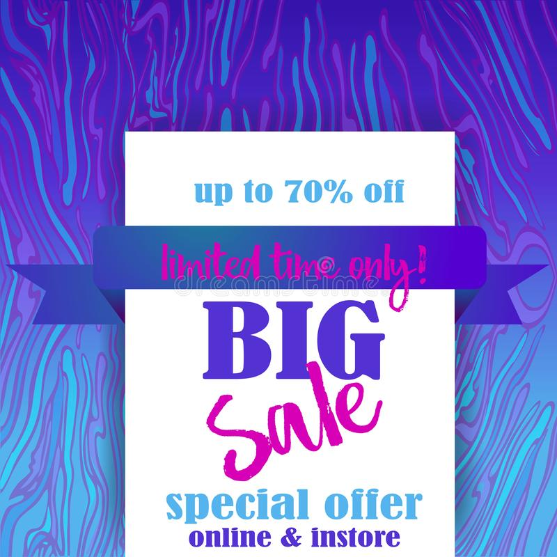 Big sale flayer template for web and print with neon waves marble pattern background in purple blue colors. Creative vector design stock illustration
