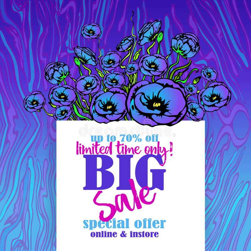 Big sale flayer template neon waves marble pattern background in purple blue colors royalty free illustration