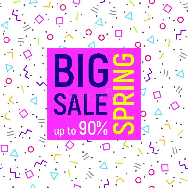 Big sale geometric background, memphis style stock illustration