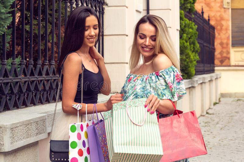 Big sale gift and shopping woman's stock photography