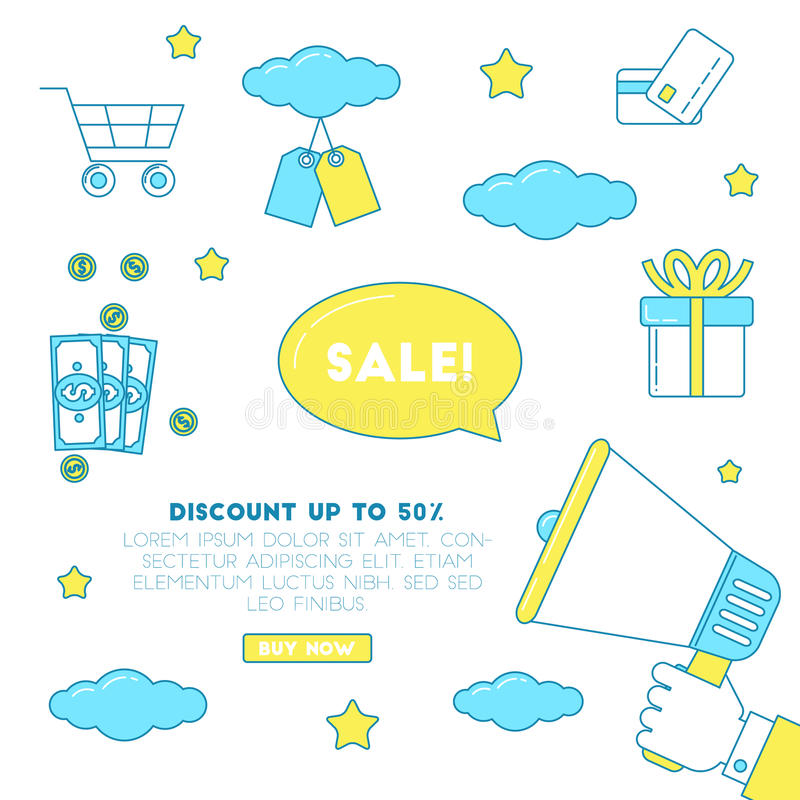 Big sale illustration. Banner for discount promotion with clouds and stars stock illustration