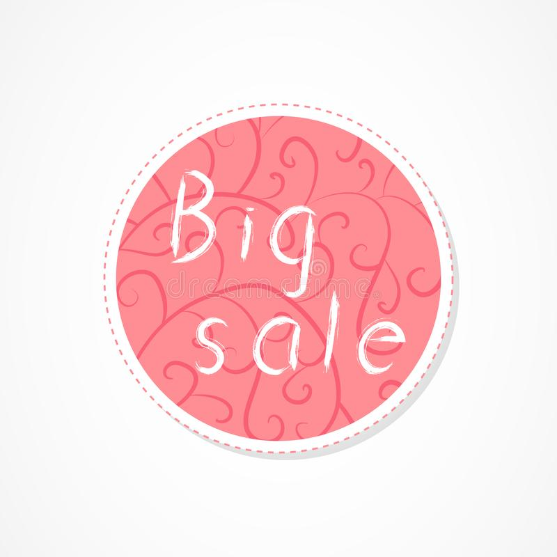 Big sale inscription on decorative round backgrounds with abstract pattern. Hand drawn lettering. Vector illustration vector illustration