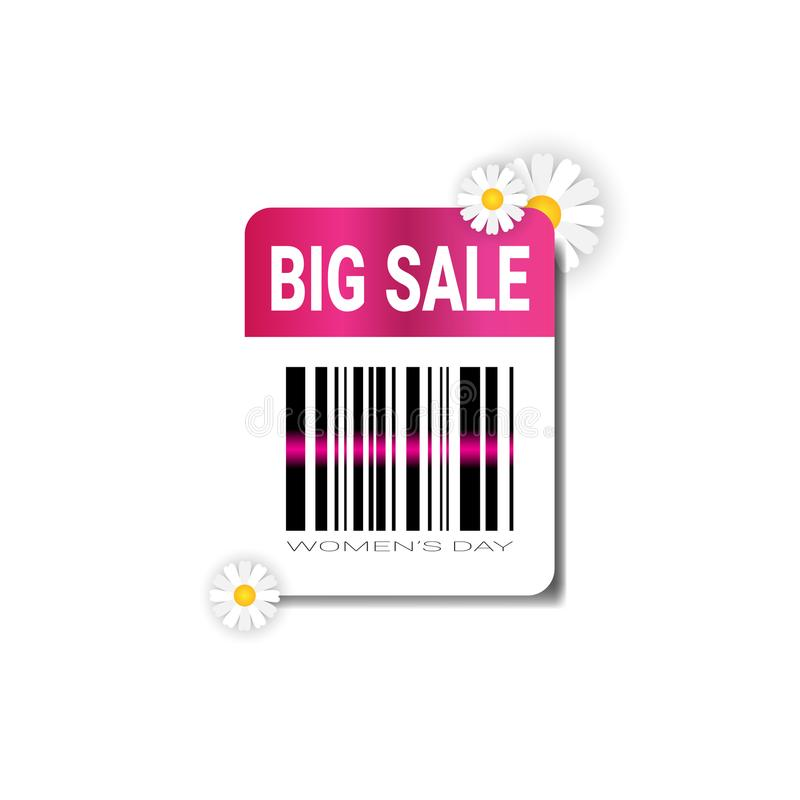 Big Sale Label With Bar Code Template International Women Day Discount Concept Promotion Sticker. Vector Illustration stock illustration