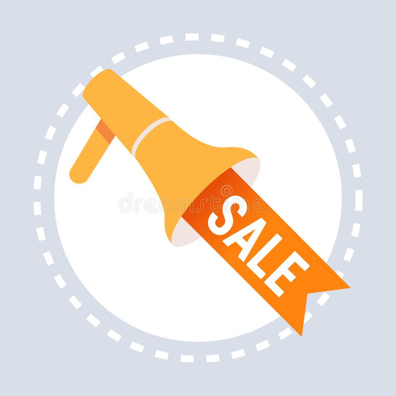 Big sale label megaphone icon shopping special offer concept flat stock illustration