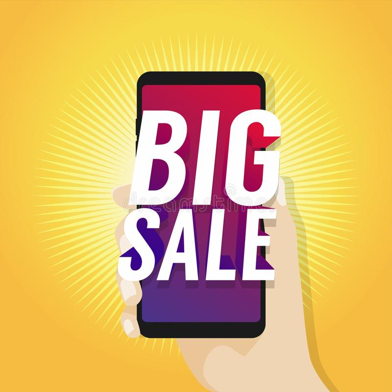 Big Sale on Mobile in Hand. vector illustration