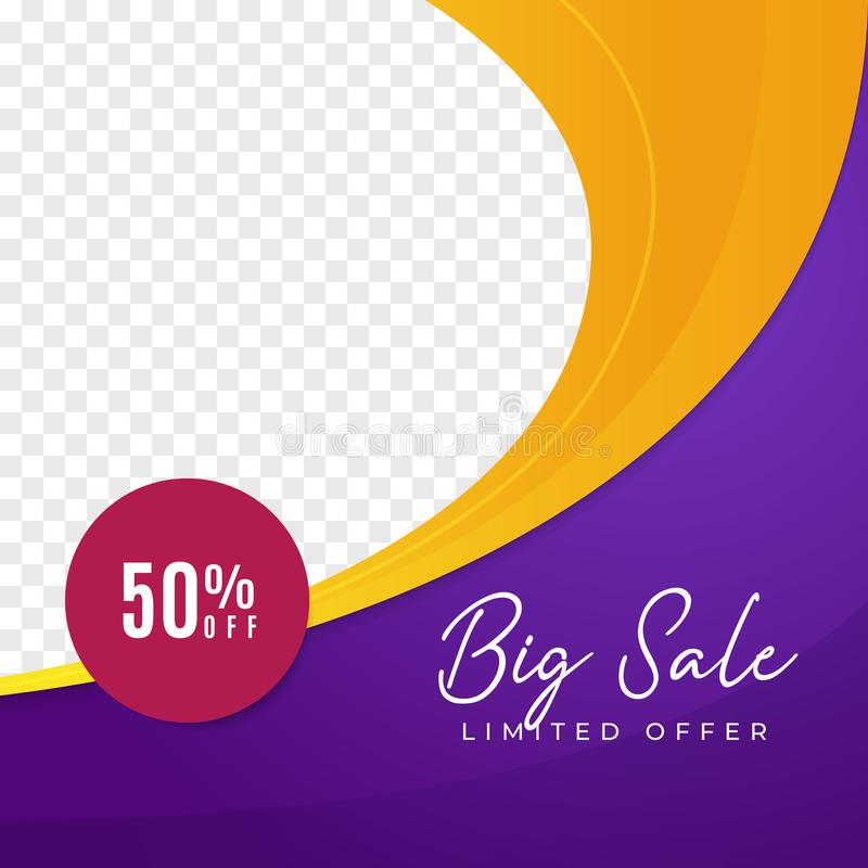 Big sale multipurpose social media post background template. fashion discount promotion square web banner with transparent space vector illustration