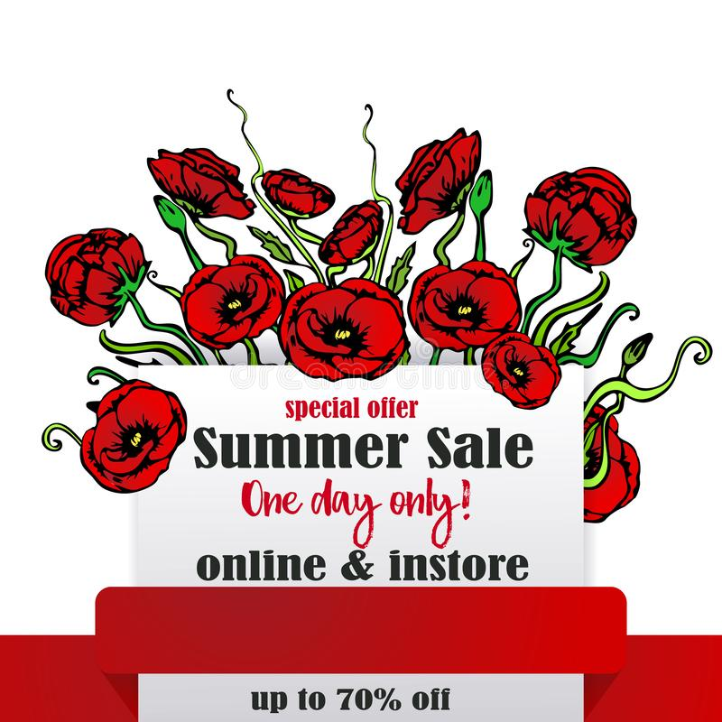 Big sale page template for web and print, white background and red  ribbon with red and floral bouquet . Creative vector design, stock illustration
