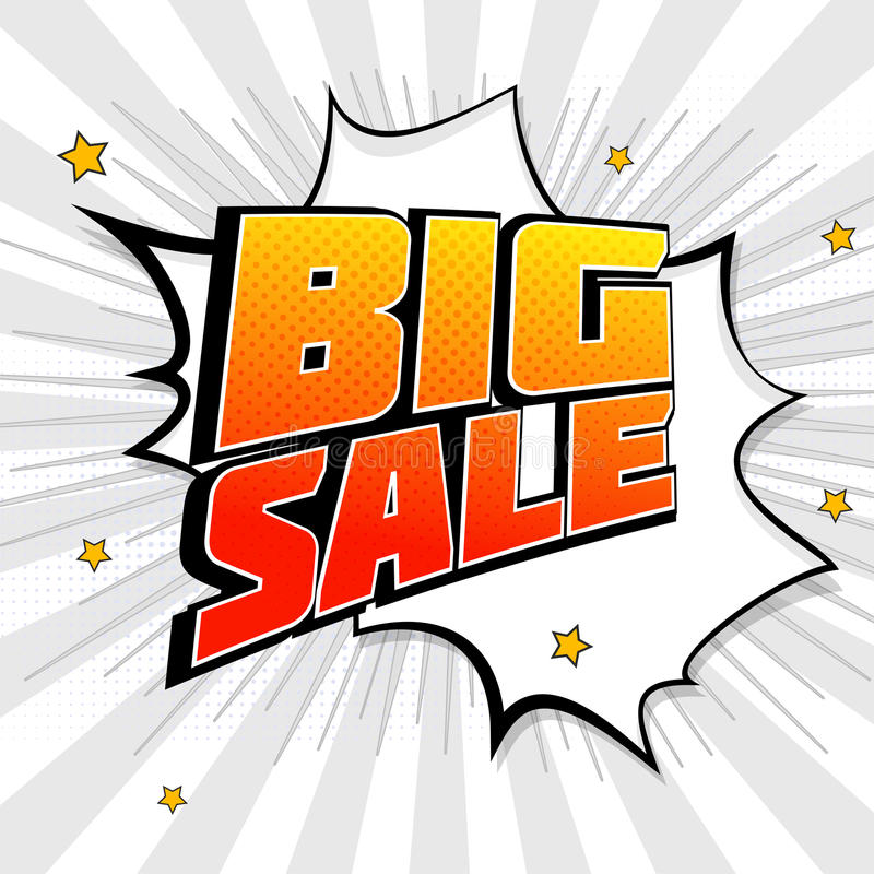 Big sale pop art splash background, explosion in comics book style. Advertising signboard, price reduction with halftone stock illustration