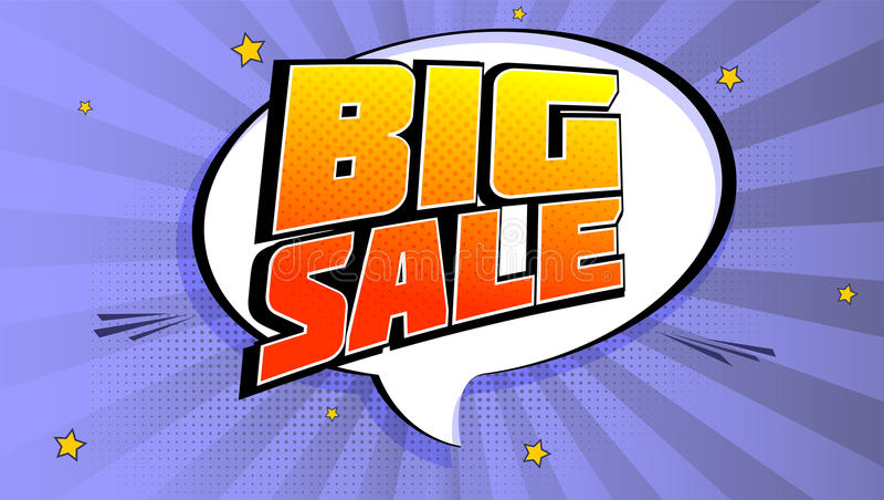 Big sale pop art splash background, explosion in comics book style. Advertising signboard, price reduction, sale with vector illustration