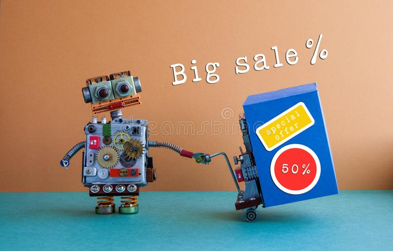 Big sale promotion poster. Comical delivery service robot moving blue box with discount advertising stickers. Brown. Background stock photos