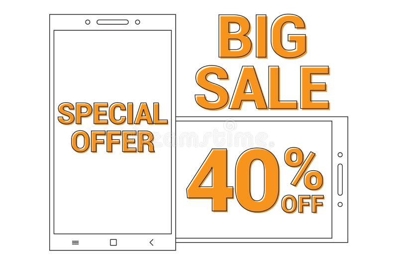 Big sale Promotional banner background with line art smart phone for Special sales offer 40% off stock illustration