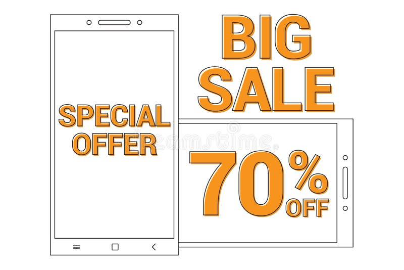 Big sale Promotional banner background with line art smart phone for Special sales offer 70% off stock illustration