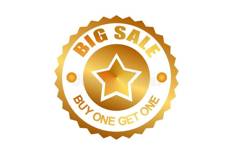 Big sale ribbon label vintage. golden color. special offer for sale. buy one get one stock illustration