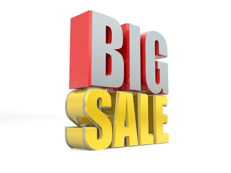 Big sale, sales offer banner, 3D rendering isolated on white background stock illustration