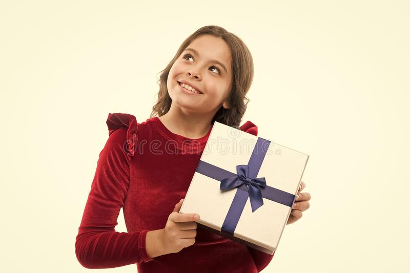 Big sale in shopping mall. small girl after shopping. Boxing day. Little girl with present box. Happy birthday gift. Own. Business. cute daydreamer. Nice royalty free stock images
