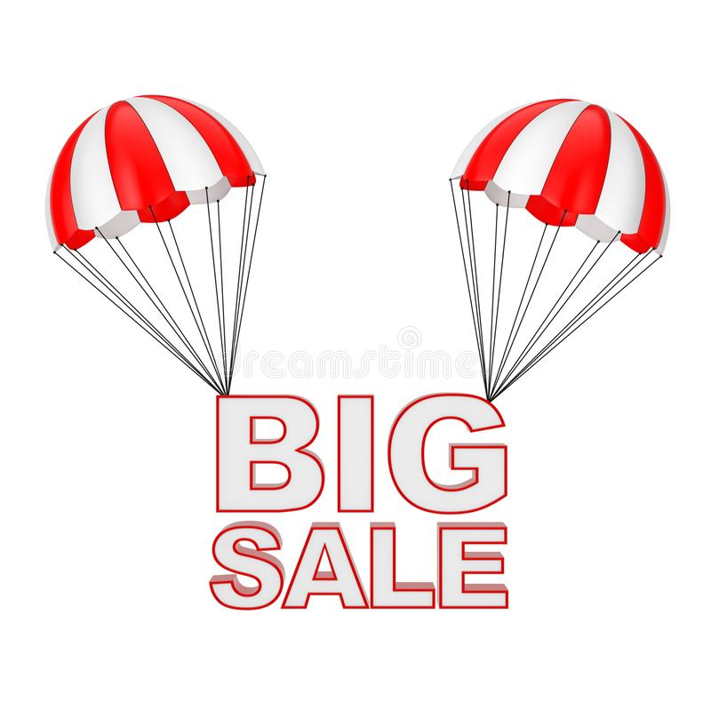 Big Sale Sign Flying on Parachute. 3d Rendering. Big Sale Sign Flying on Parachute on a white background. 3d Rendering royalty free illustration