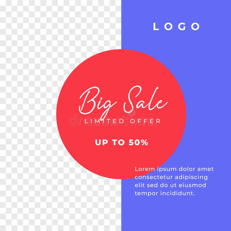 Big sale simple multipurpose social media post background template. minimal discount promotion square web banner with transparent stock illustration