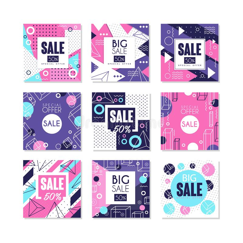 Big sale, special offer banners set, bright discount and promotion labels, advertising elements vector Illustrations on royalty free illustration