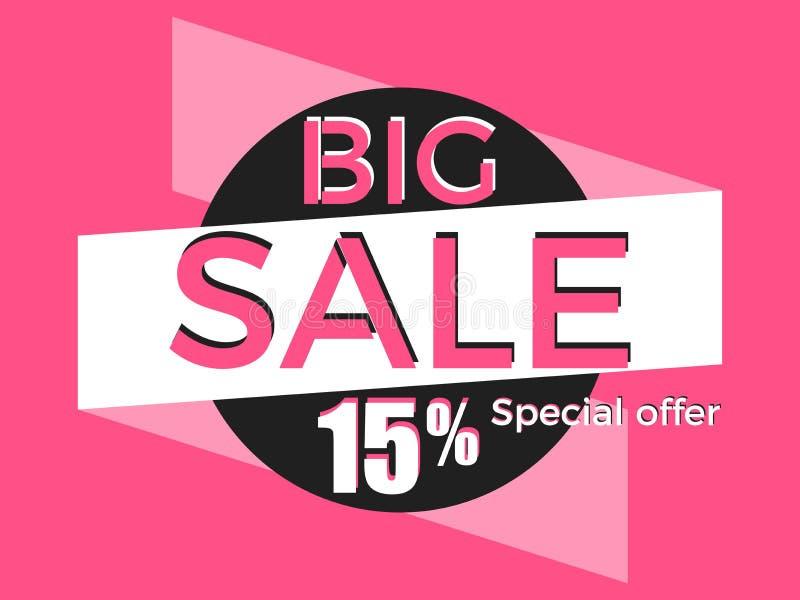 Big sale, special offer. Discount of 15%. Banner template design. Vector stock illustration