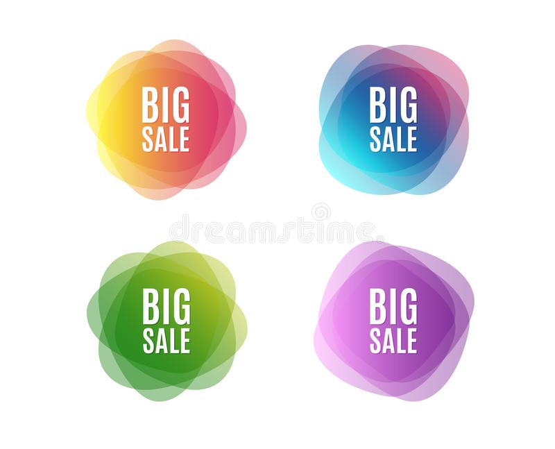 Big Sale. Special offer price sign. Advertising Discounts symbol. Colorful round banners. Overlay colors shapes. Abstract design concept. Vector royalty free illustration