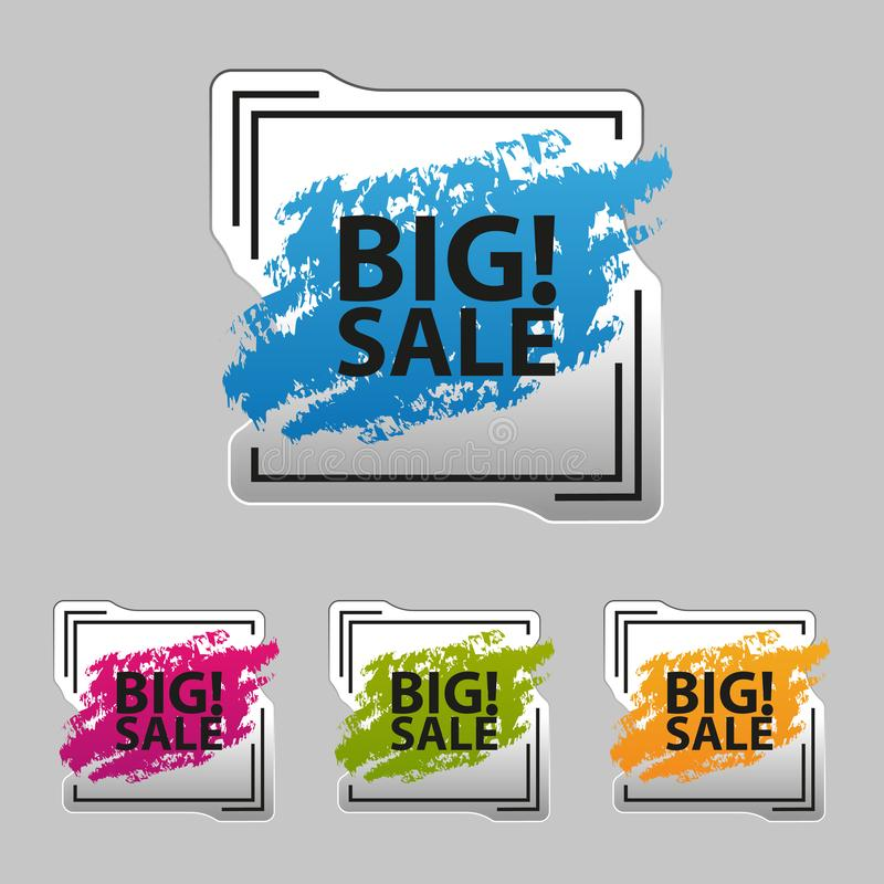 Big Sale Square Frame Icons - Silver Metallic Sticker - Colorful Vector Illustration - Isolated On Gray Background vector illustration