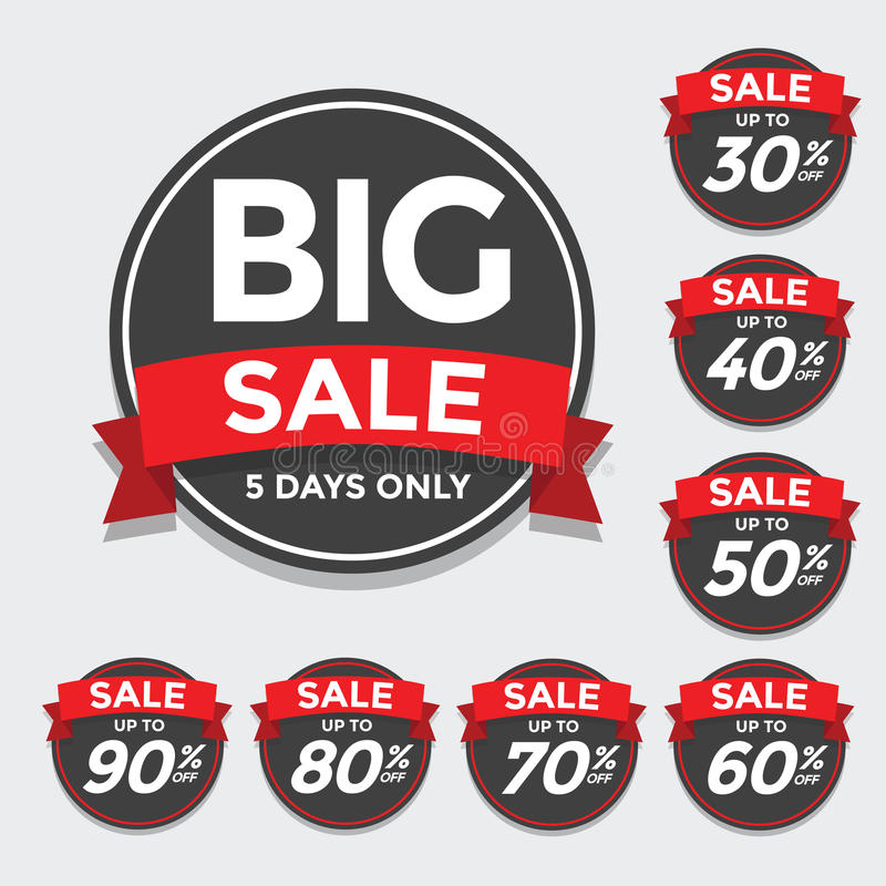 Big Sale tags with Sale up to 30 - 90 percent text on stock illustration