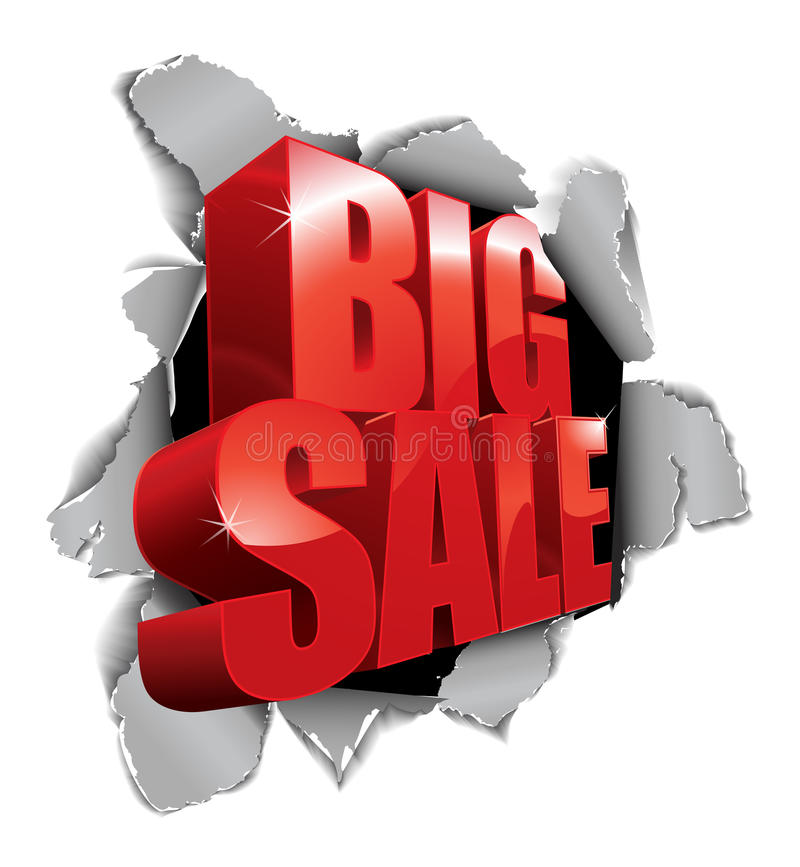 Download Big Sale Tear Through The Paper Stock Illustration - Image: 23992089