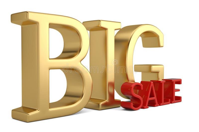 Big sale text isolated on white background 3D illustration stock illustration