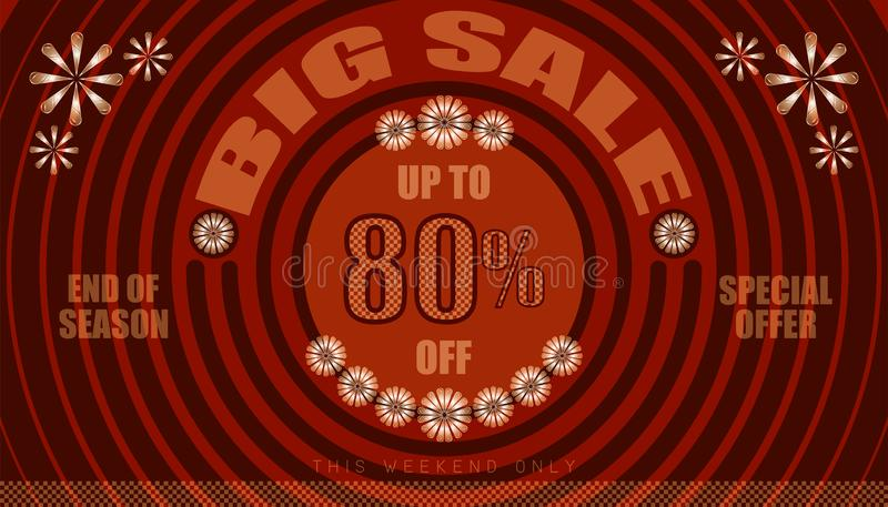 Big sale up to 80% end of year special offer. vintage retro style. small to big circle from center. creative poster design. vector. Big sale up to 80% end of stock illustration