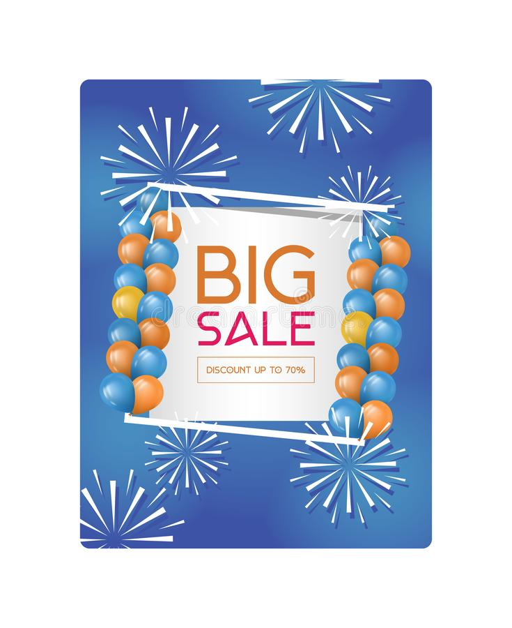 Big Sale vector illustration poster, this weekend special offer advertising banner template. Poster with firework. Baloons and discounter sale text on blue stock illustration